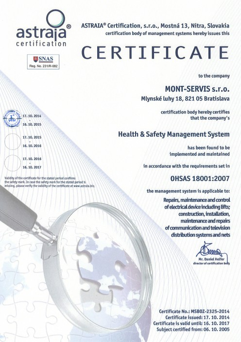 Health & Safety Management System according to OHSAS 18001